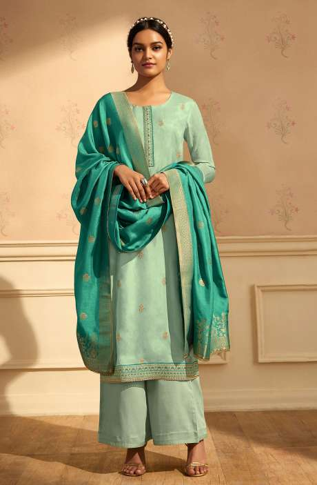 Designer Festive Wear Satin Silk Salwar Suit Set In Sea Green with Banarasi Silk Dupatta - RAAC0235