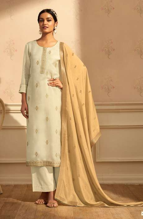 Designer Festive Wear Satin Silk Salwar Suit Set In Cream with Banarasi Silk Dupatta - RAAC0236