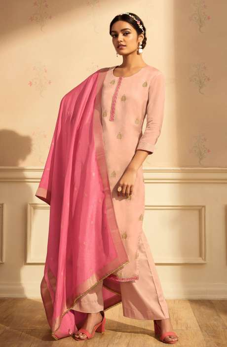 Designer Festive Wear Satin Silk Salwar Suit Set In Peach with Banarasi Silk Dupatta - RAAC0237