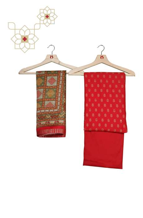 Cotton Beautiful Zari Weaving Red Salwar Kameez - RAN560