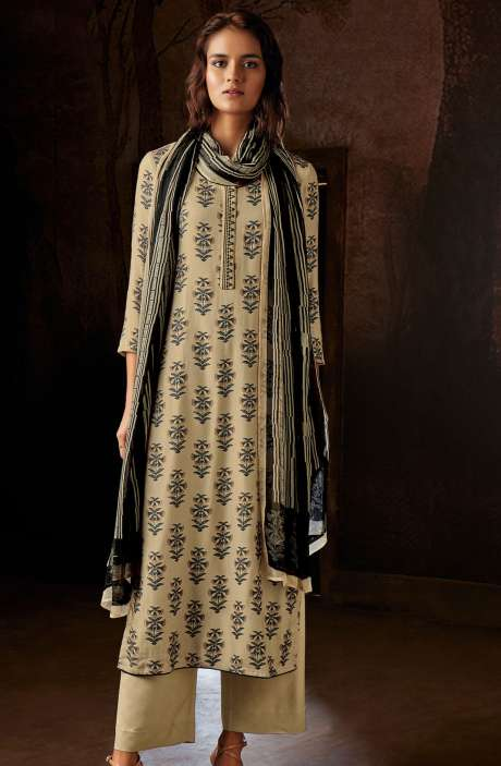 Spun Woolen Digital Floral Prints Winter Salwar Suit Sets In Beige - RAV8234R