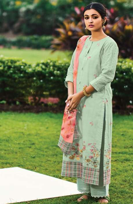 Beautiful Digital Print Cotton Suit Sets in Pista Green with Chiffon Dupatta - REE306