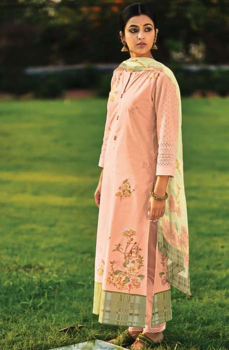 Beautiful Digital Print Cotton Suit Sets in Peach with Chiffon Dupatta - REE318