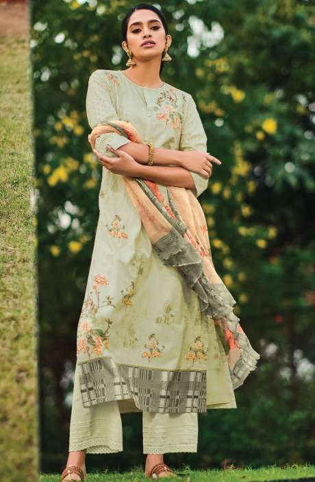 Beautiful Digital Print Cotton Suit Sets in Pista Green with Chiffon Dupatta - REE324