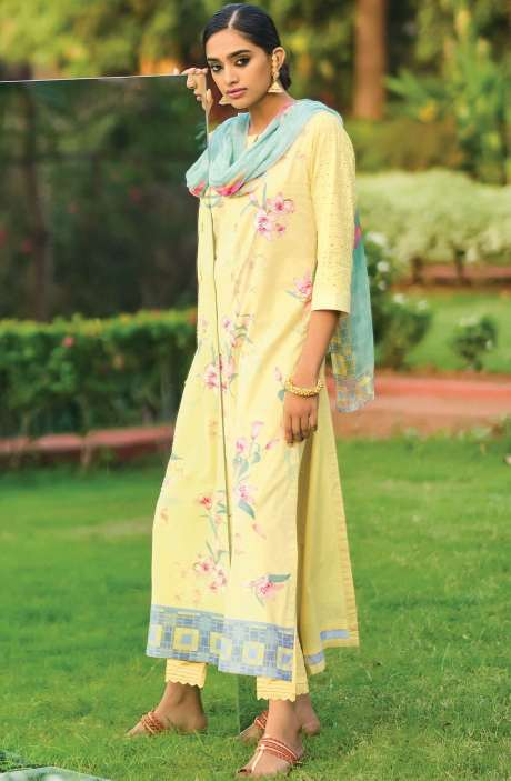 Beautiful Digital Print Cotton Suit Sets in Lime Yellow with Chiffon Dupatta - REE340