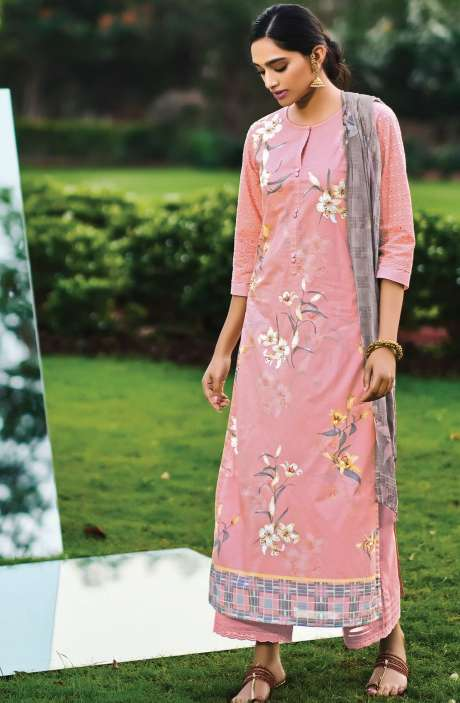 Beautiful Digital Print Cotton Suit Sets in Pink with Chiffon Dupatta - REE345