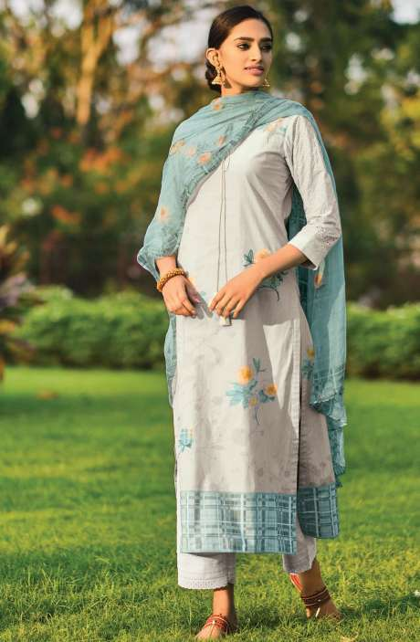 Beautiful Digital Print Cotton Suit Sets in Grey with Chiffon Dupatta - REE356