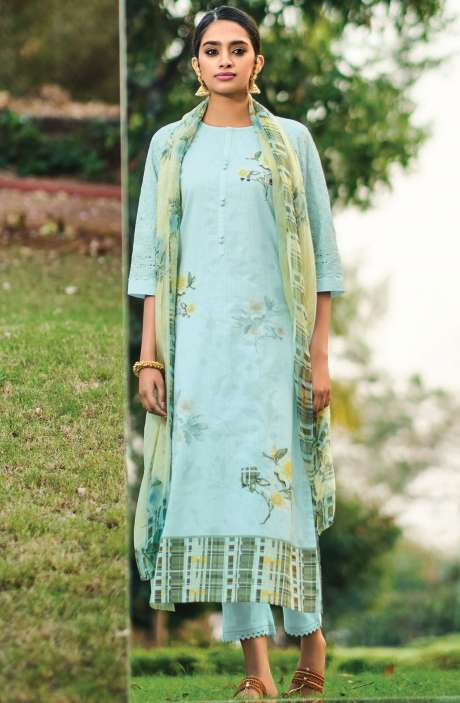 Beautiful Digital Print Cotton Suit Sets in Sea Green with Chiffon Dupatta - REE359