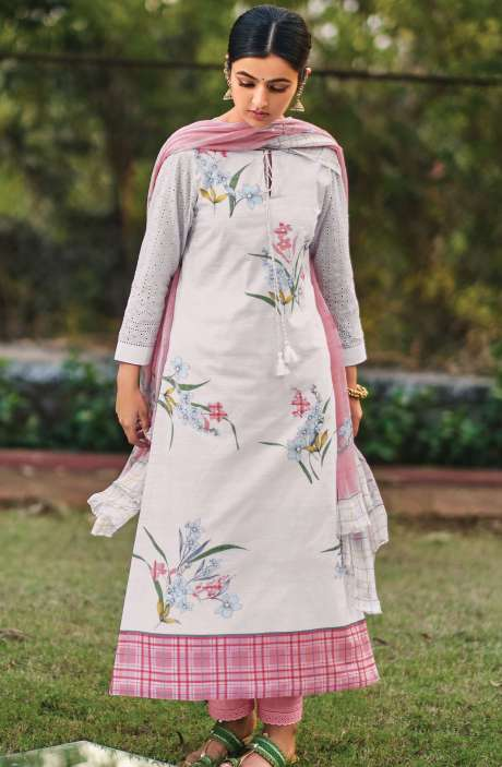 Beautiful Digital Print Cotton Suit Sets in White with Chiffon Dupatta - REE378