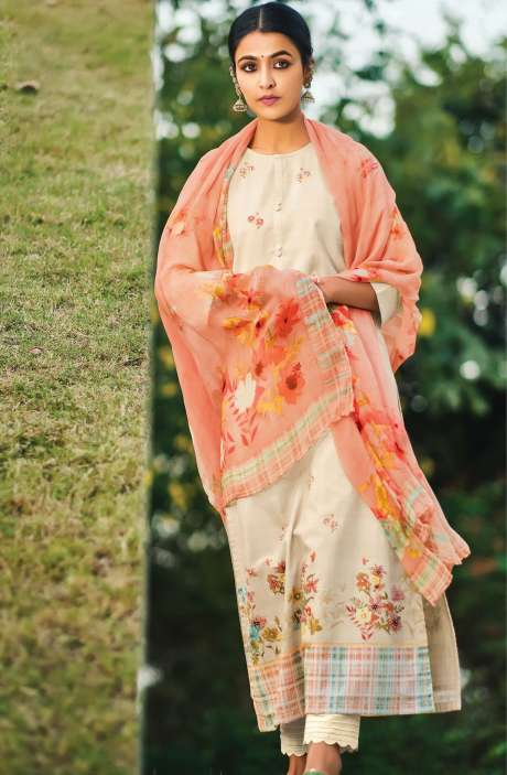 Beautiful Digital Print Cotton Suit Sets in Cream with Chiffon Dupatta - REE382