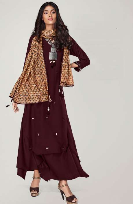 Ready to Wear Stylish Mirror Work Coffee Color Womens Kurti - REF11131