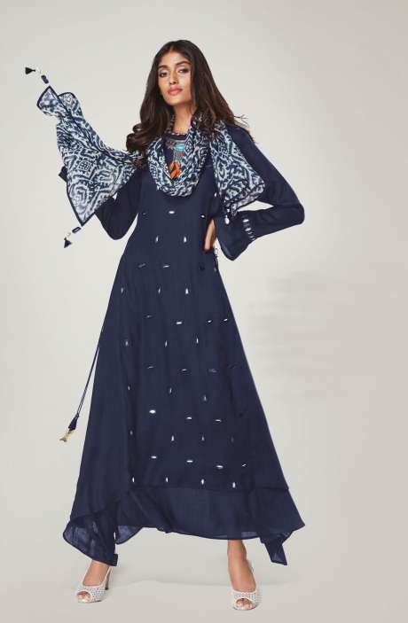 Ready to Wear Trendy Blue Mirror Work Womens Kurti - REF11132