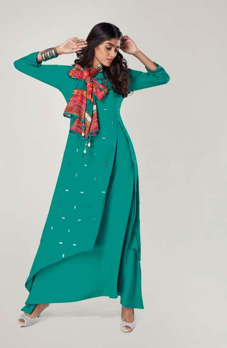 Ready to Wear Designer Green Mirror Work Girls Kurti - REF11134