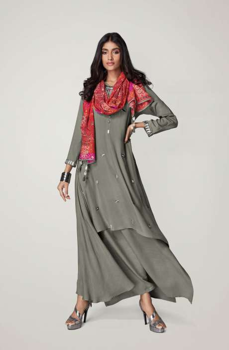 Ready to Wear Designer Grey Mirror Work Girl's Kurti - REF11135