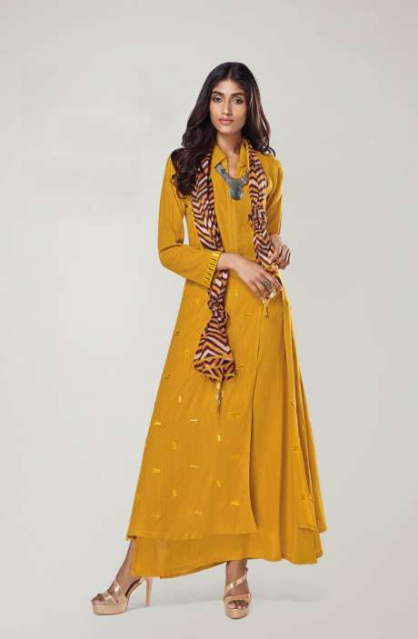 Ready to Wear Mirror Work Yellow Kurtis - REF11136