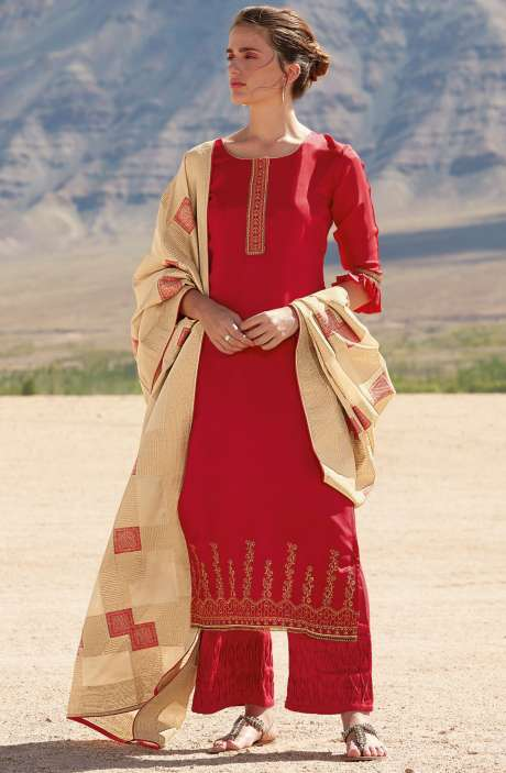 Stylish Satin Silk Salwar Kameez Sets In Red with Zari and Embroidery - REF7920