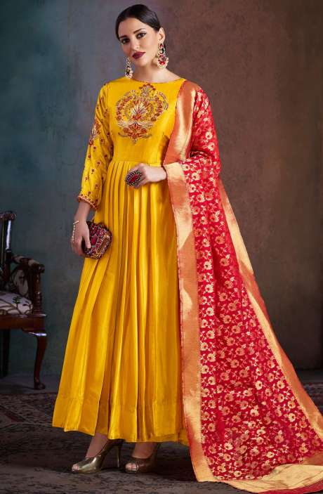 Designer Semi-Stitched Navratri Special Chanderi Embellished Salwar Kameez Sets In Yellow - RHY1701