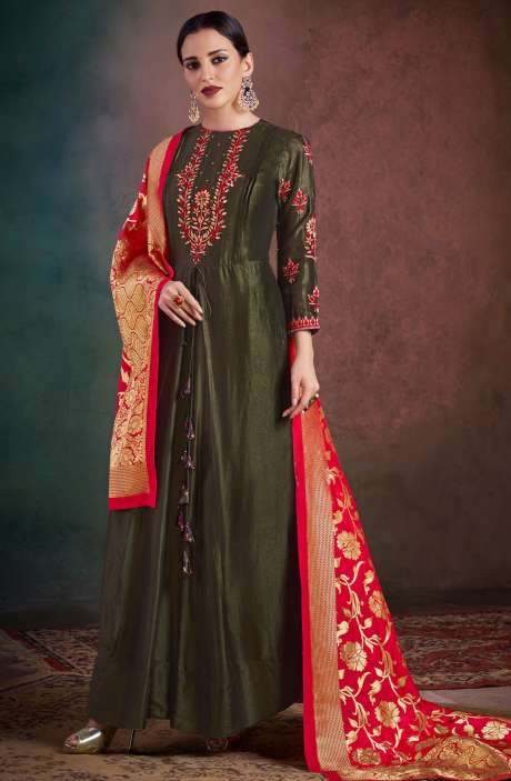 Wedding Wear Semi-Stitched Chanderi Embellished Salwar Kameez Sets In Olive Green - RHY1703-R