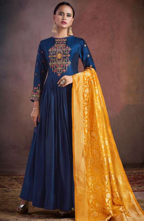 Wedding Wear Semi-Stitched Chanderi Embellished Salwar Kameez Sets In Indigo Blue - RHY1704-R
