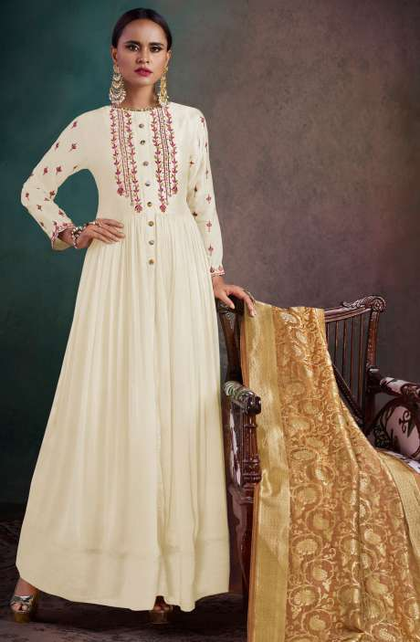 Wedding Wear Semi-Stitched Chanderi Embellished Salwar Kameez Sets In Cream - RHY1705-R