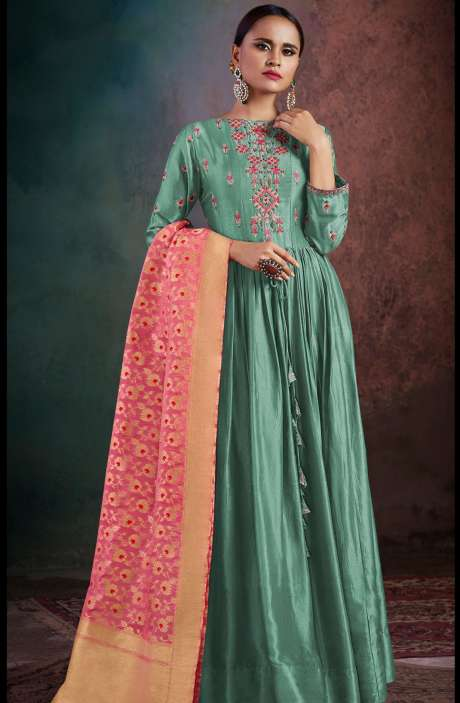 Wedding Wear Semi-Stitched Chanderi Embellished Salwar Kameez Sets In Pastel Green - RHY1706-R