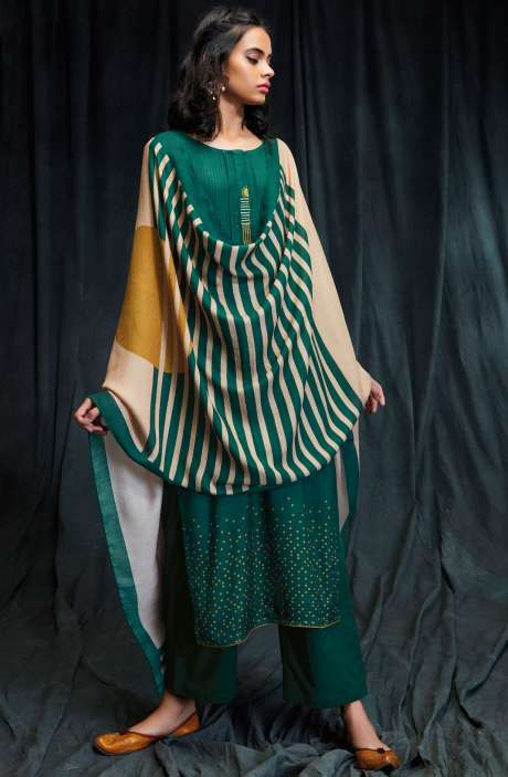 Spun Winter Wear Digital Print with Embroidered Salwar Suit Sets In Bottle Green and Mustard - RHY6607P