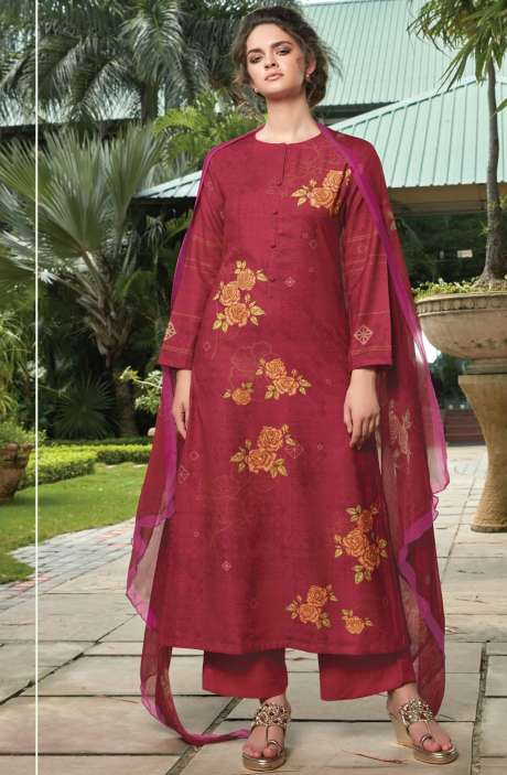 Pashmina Digital Floral Printed Unstitched Salwar Kameez In Red - RIF958