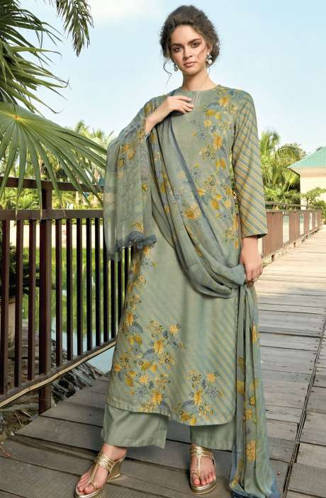 Pashmina Digital Floral Printed Unstitched Salwar Kameez In Green - RIF966