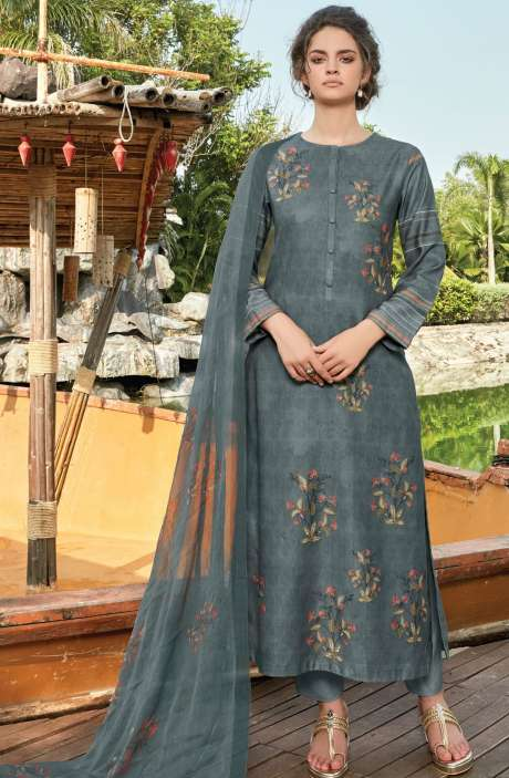 Pashmina Digital Floral Printed Unstitched Salwar Kameez In Grey - RIF982