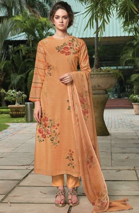 Pashmina Digital Floral Printed Unstitched Salwar Kameez In Orange - RIF990