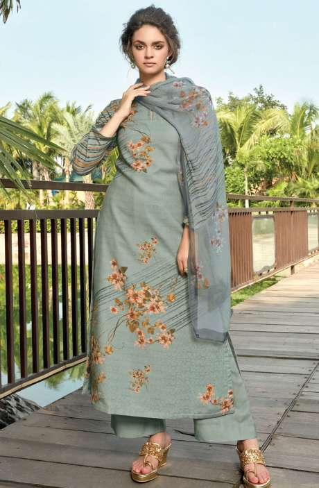 Pashmina Digital Floral Printed Unstitched Salwar Kameez In Pastel Grey - RIF996