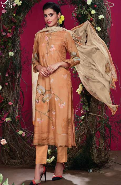 Cotton Silk Digital Printed with Hand Work Orange Unstitched Salwar Kameez - RIS265
