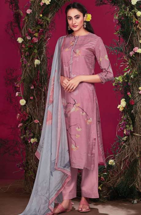 Cotton Silk Digital Printed with Hand Work Pink Unstitched Salwar Kameez - RIS289
