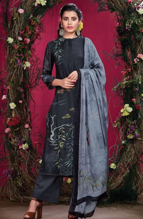 Cotton Silk Digital Printed with Hand Work Blue Unstitched Salwar Kameez - RIS298
