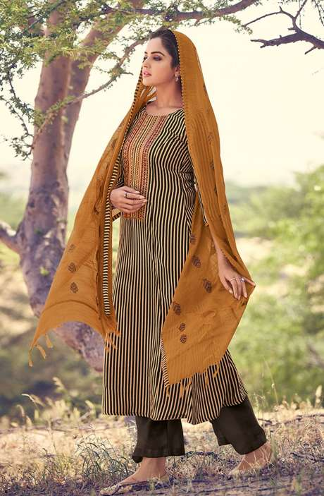 Spun Winterwear Printed Salwar Kameez In Brown & Beige - RIV5542