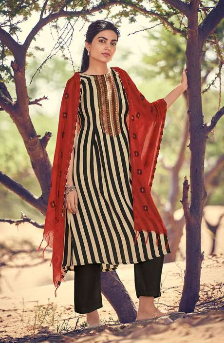 Spun Winterwear Printed Salwar Kameez In Black & Cream - RIV5543