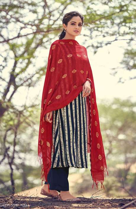 Spun Winterwear Printed Salwar Kameez In Blue & Cream - RIV5547