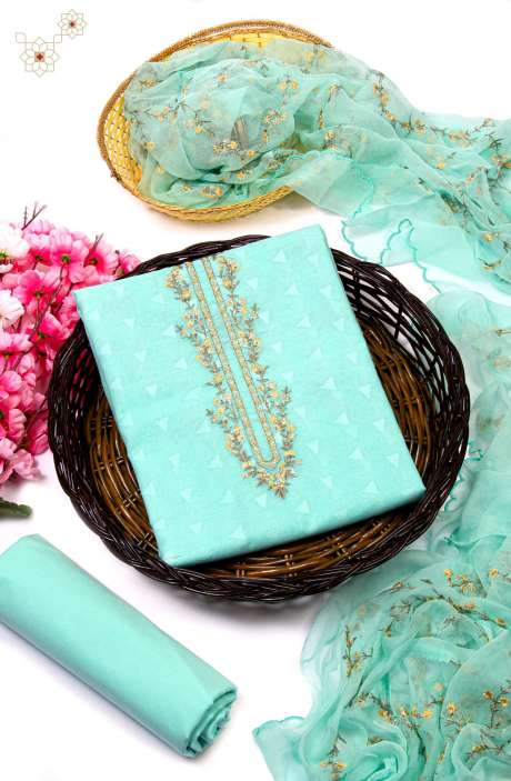 Cotton Jacquard Exclusive Embroidered Suit In Sea Green with Pure Chiffon Dupatta - RIY1002B