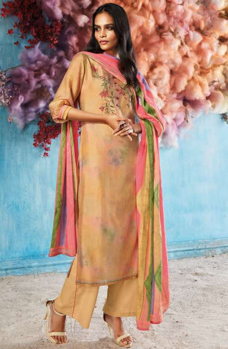 Silk Digital Printed Mustard Salwar Suit Sets with Embroidery & Hand Work - ROI7839