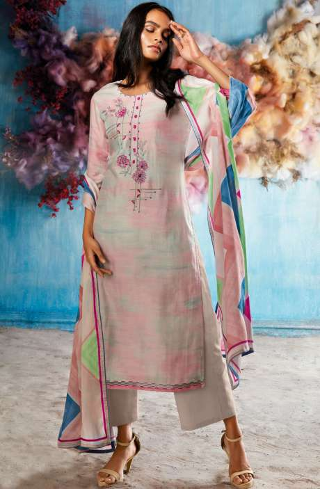 Silk Digital Printed Cream & Pink Salwar Suit Sets with Embroidery & Hand Work - ROI7840R