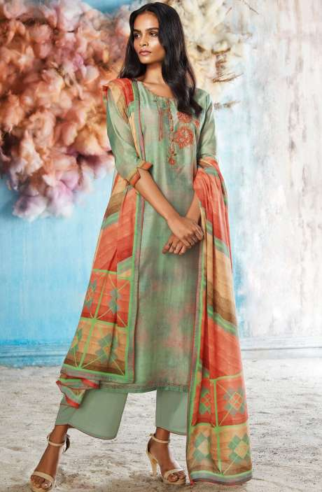 Silk Digital Printed Sea Green Salwar Suit Sets with Embroidery & Hand Work - ROI7845
