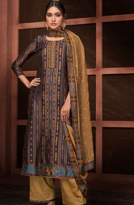 Designer Russian Silk Digital Printed Multi & Brown Salwar Suit with Embroidery - RUS8432