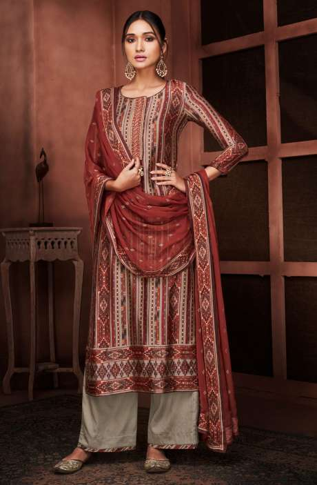 Designer Russian Silk Digital Printed Multi & Grey Salwar Suit with Embroidery - RUS8433