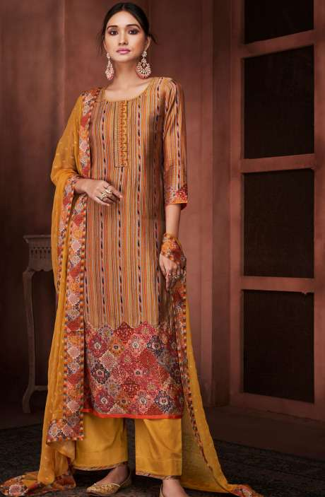 Designer Silk Digital Printed Multi & Mustard Yellow Salwar Suit with Embroidery - ROO8434