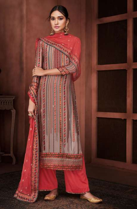 Designer Silk Digital Printed Multi & Pink Salwar Suit with Embroidery - ROO8435