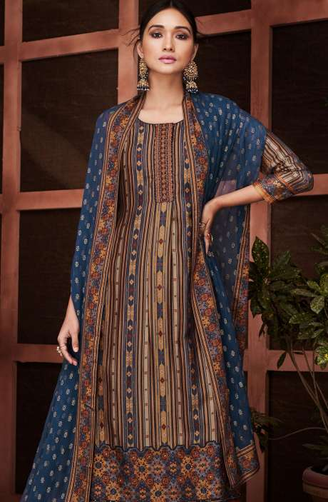 Designer Russian Silk Digital Printed Multi & Blue Salwar Suit with Embroidery - RUS8436