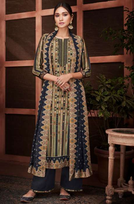 Designer Russian Silk Digital Printed Multi & Blue Salwar Kameez with Embroidery - RUS8437