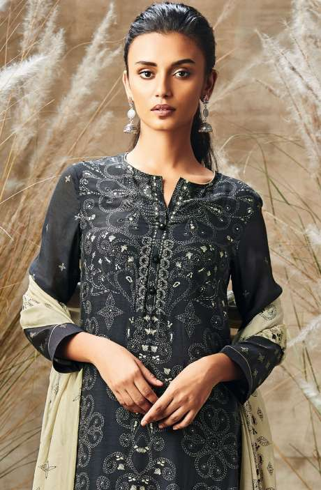 Modal Cotton Digital Print with Mirror Work Salwar Suit In Black and Beige - ROS143