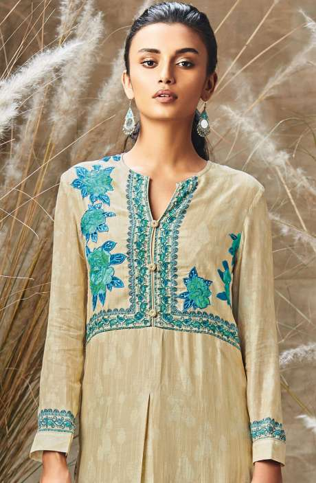 Modal Cotton Digital Print with Embroidery and Sequence Work Salwar Suit In Beige - ROS147