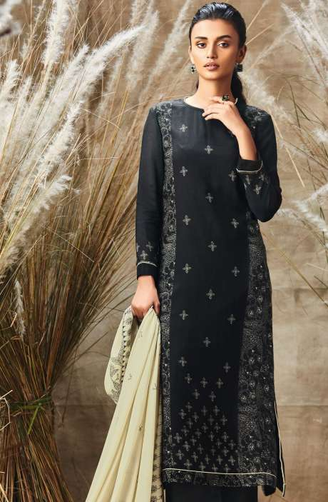 Modal Cotton Digital Printed with Mirror Work Salwar Suit Sets In Black and Beige - ROS160